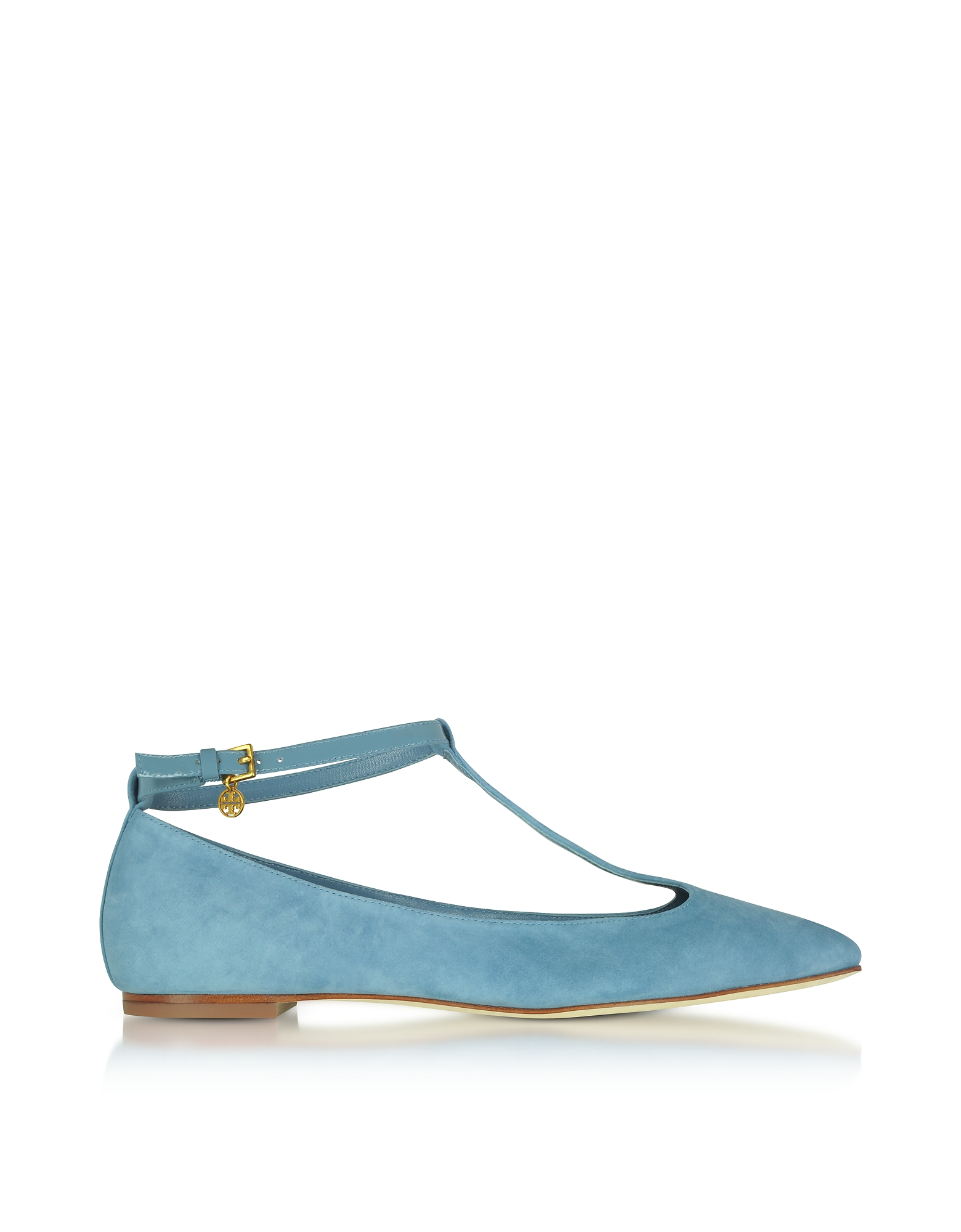 Tory Burch Shoes, Blue Yonder Suede Ashton T-Strap Flat Ballerina