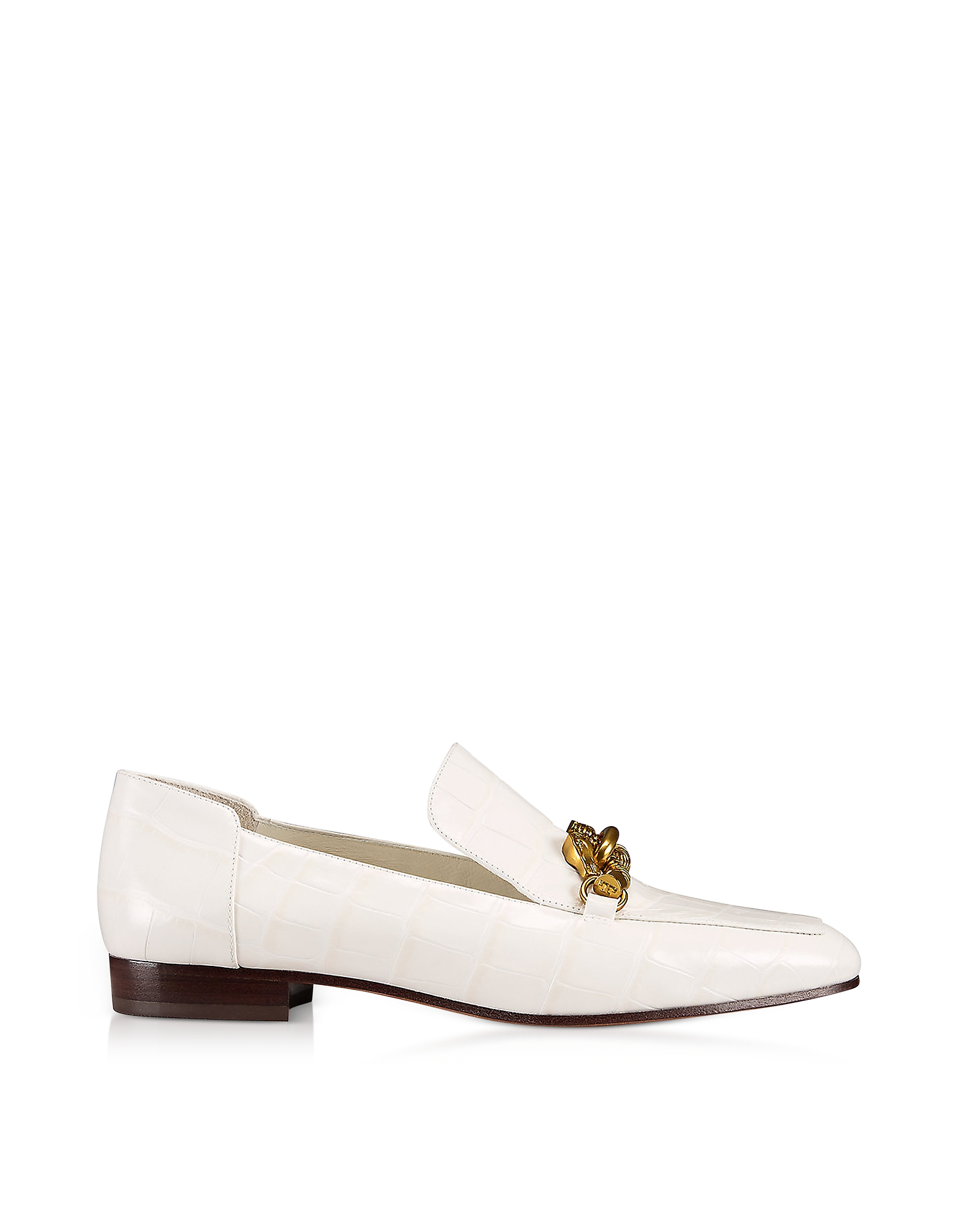 Tory Burch Shoes, Jessa White Croco Embossed Leather Loafers w/Goldtone Horse Hardware