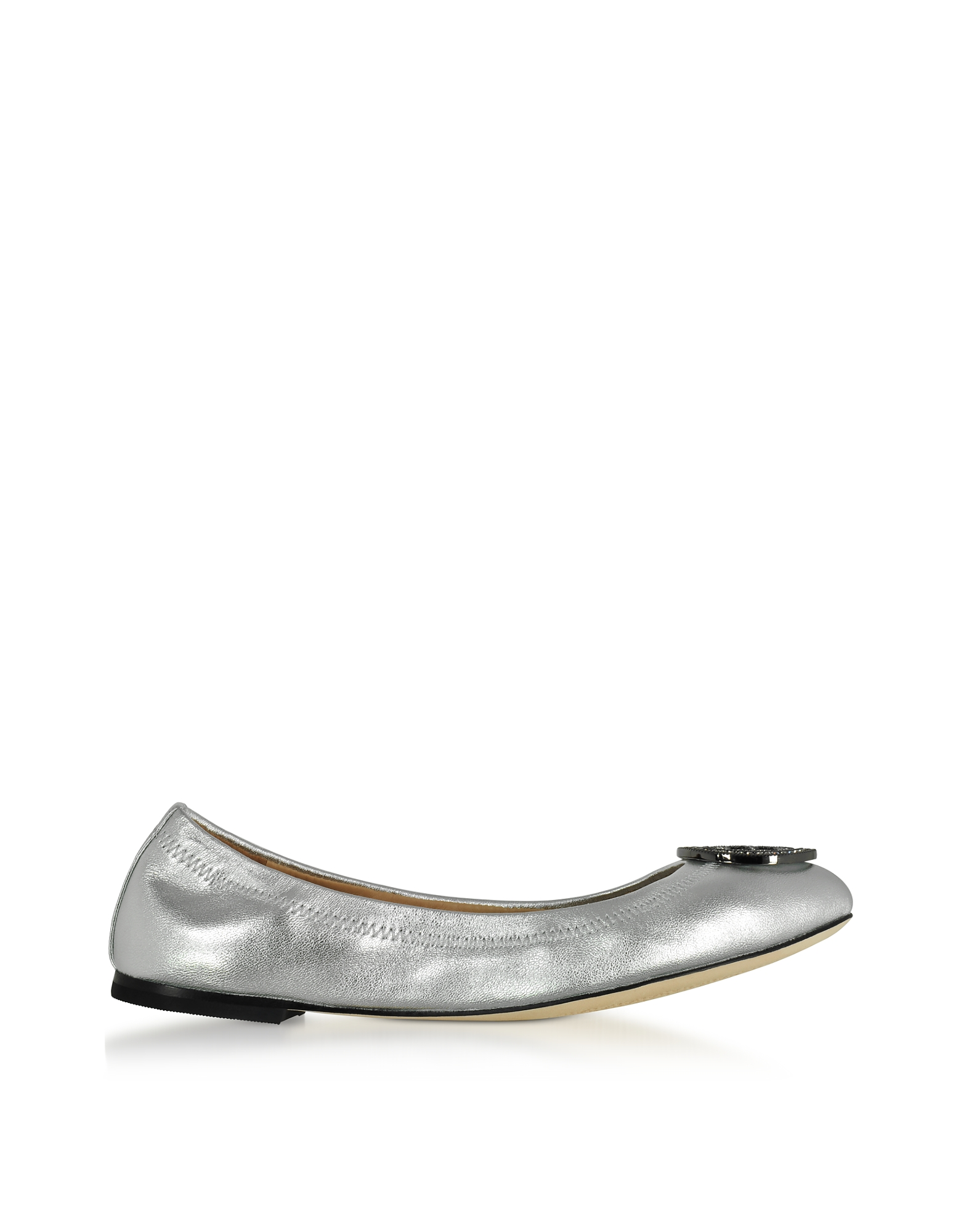Tory Burch Shoes, Liana Silver Metallic Leather Ballet Flats