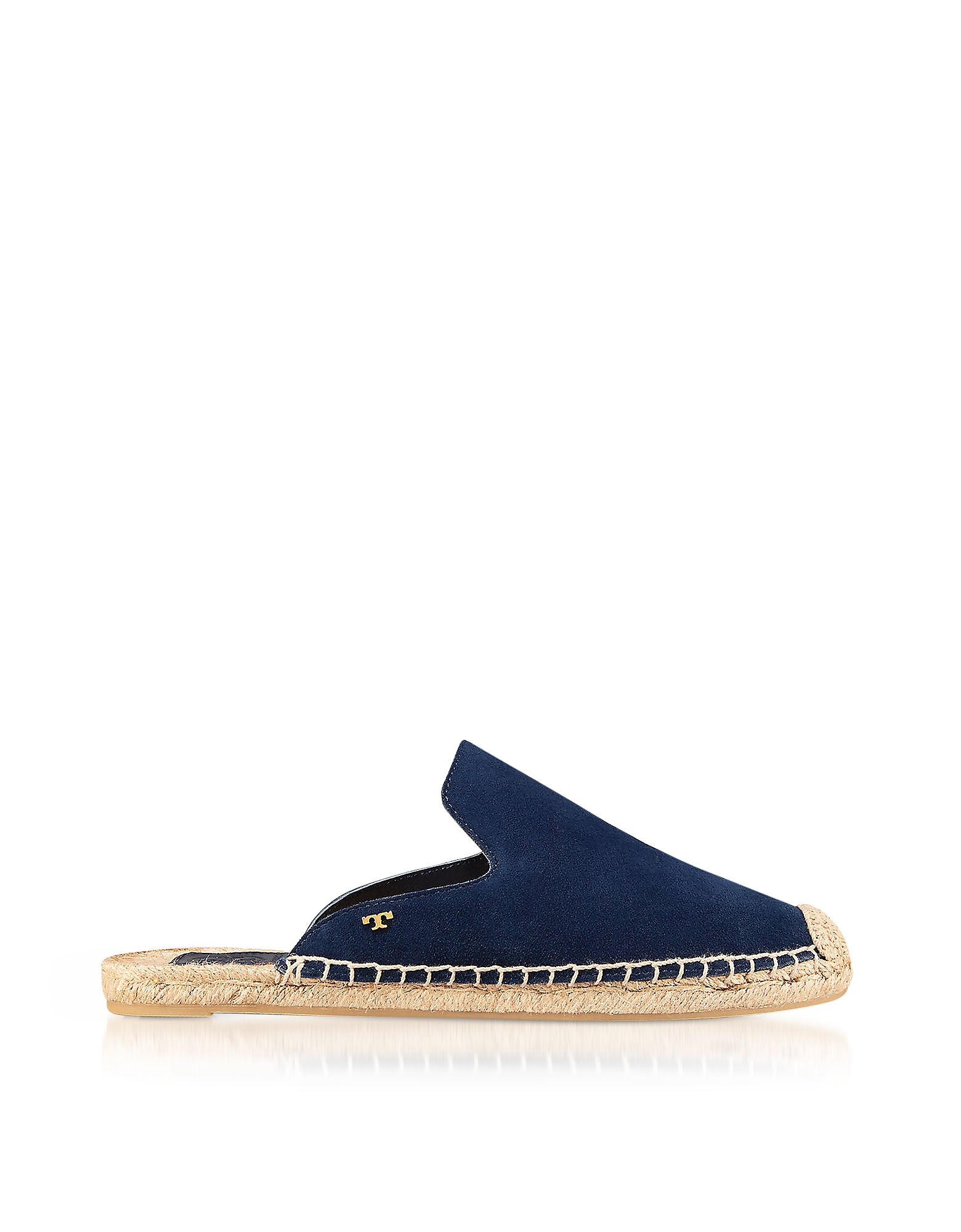 Tory Burch Shoes, Max Royal Navy Suede Flat Slide Espadrilles