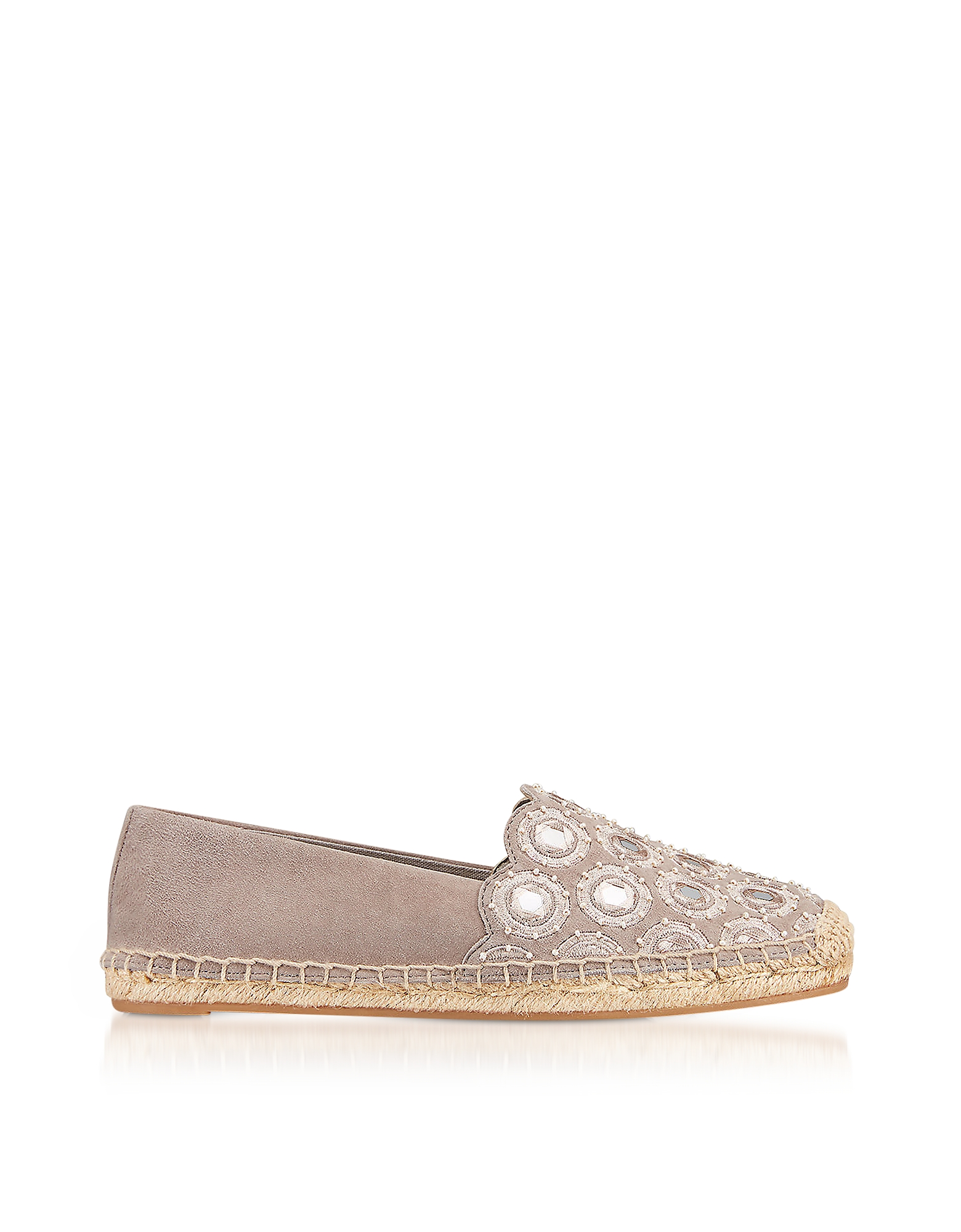 Tory Burch Shoes, Yasmin Dust Storm Suede Embellished Flat Espadrilles