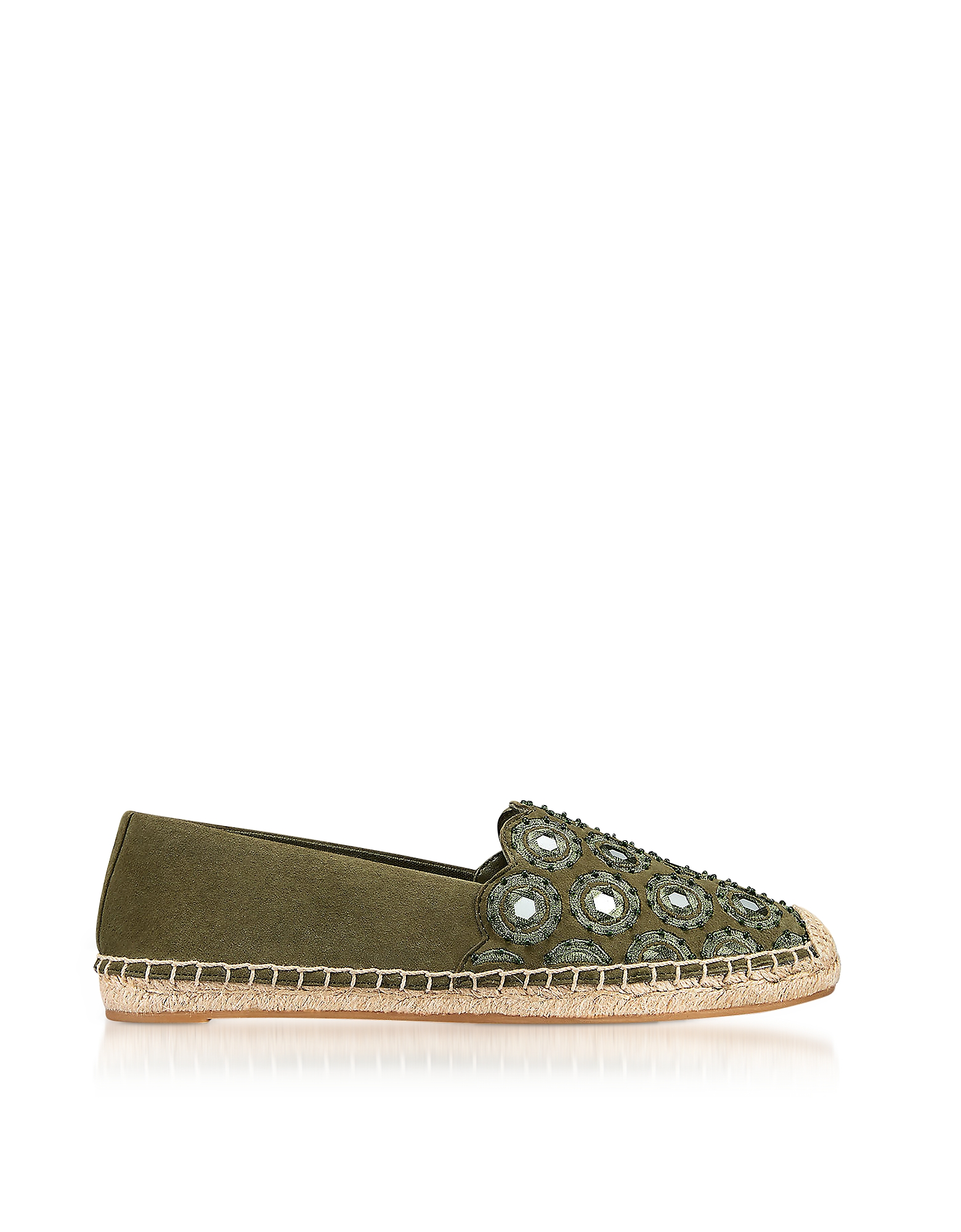 Tory Burch Shoes, Yasmin Olive Green Suede Embellished Flat Espadrilles