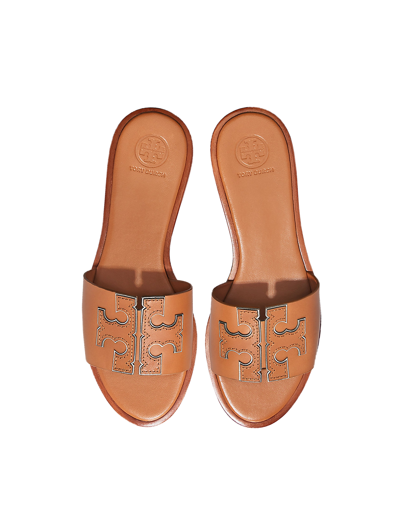 Tory Burch Shoes, Tan Calf Leather Ines Slides