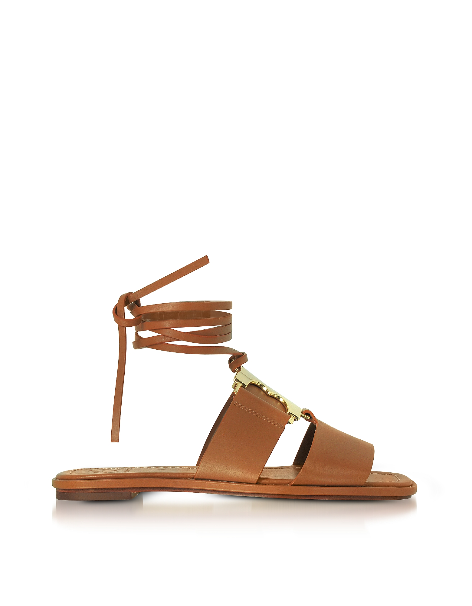 Tory Burch Shoes, Gemini Link Royal Tan Nappa Leather Lace Up Flat Sandals