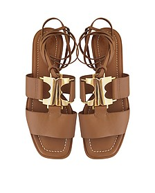 Gemini Link Royal Tan Nappa Leather Lace Up Flat Sandals - Tory Burch