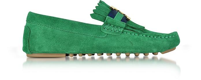 Gemini Link Emerald Stone Suede Driver Shoes - Tory Burch