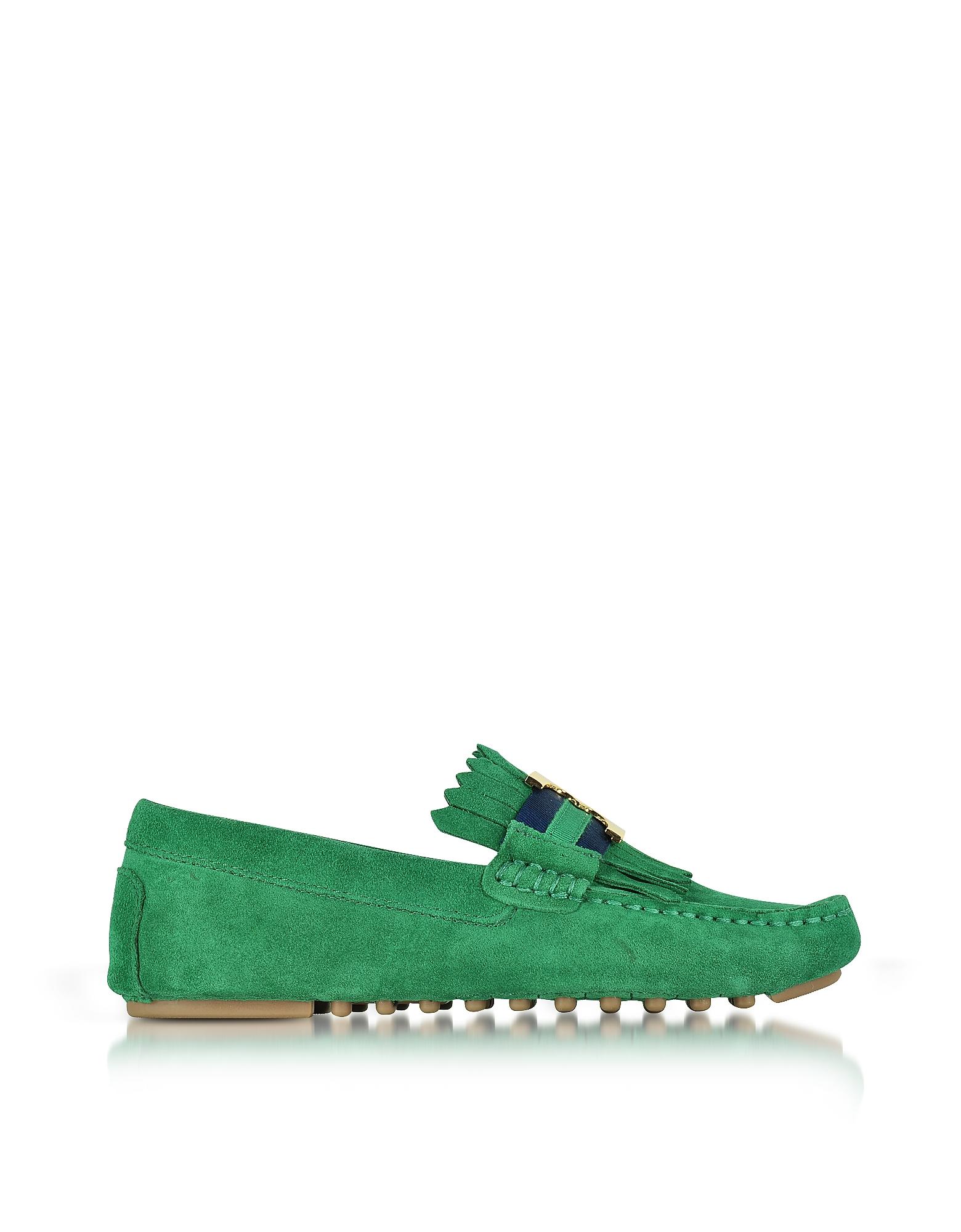Gemini Link - Изумрудно Зеленые Замшевые Туфли для Вождения