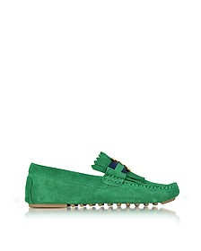 Gemini Link Emerald Stone Suede Driver Shoes - Tory Burch
