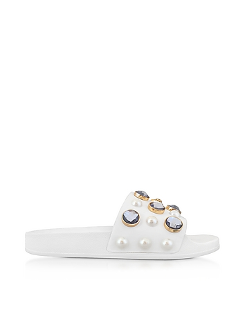 Tory Burch - Vail White Leather Slide Sandals w/Crystals