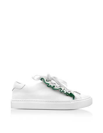 Tory Burch - Ruffle Snow White & Vineyard Leather Flat Sneakers