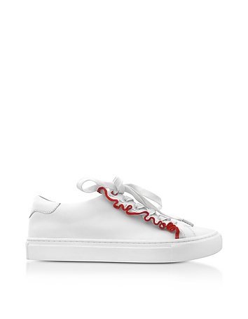 Ruffle Snow White & Red Leather Flat Sneakers