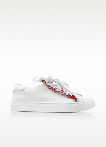 Ruffle Snow White & Red Leather Flat Sneakers - Tory Burch