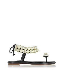 Melody Black Leather Ankle Strap Sandals - Tory Burch
