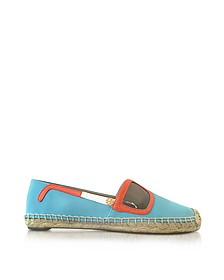 Sunny Jewel Oasis and Multicolor Nubuck & Patent Leather Flat Espadrilles - Tory Burch