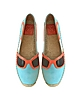 Sunny Jewel Oasis and Multicolor Nubuck & Patent Leather Flat Espadrilles - Tory Burch