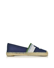 Laguna Navy Sea and Multicolor Canvas & Nubuck Flat Espadrilles - Tory Burch