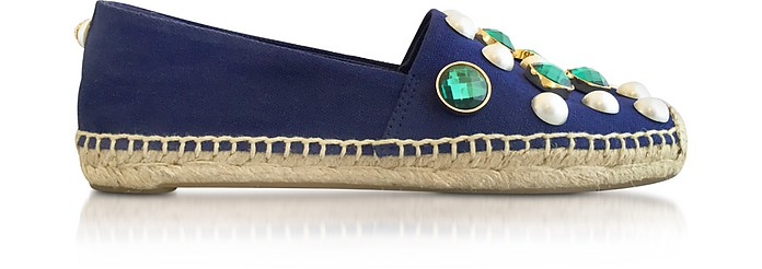 Vail Navy Sea Canvas Flat Espadrilles w/Crystals - Tory Burch