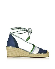 Laguna Navy Sea and Multicolor Canvas & Nubuck Lace-up Wedge Espadrilles - Tory Burch