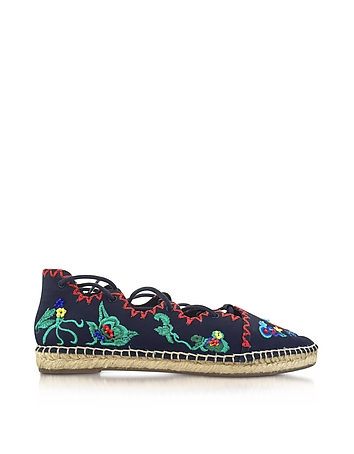 Tory Burch - Sonoma Tory Navy Embroidered Ghillie Canvas Flat Espadrilles