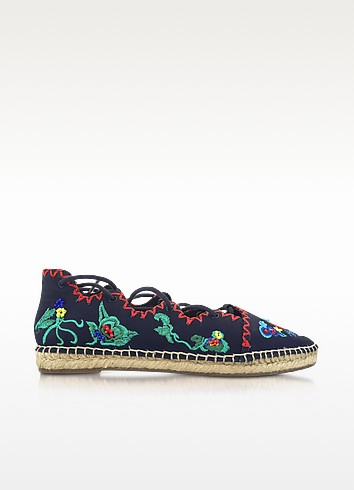 Sonoma Tory Navy Embroidered Ghillie Canvas Flat Espadrilles - Tory Burch