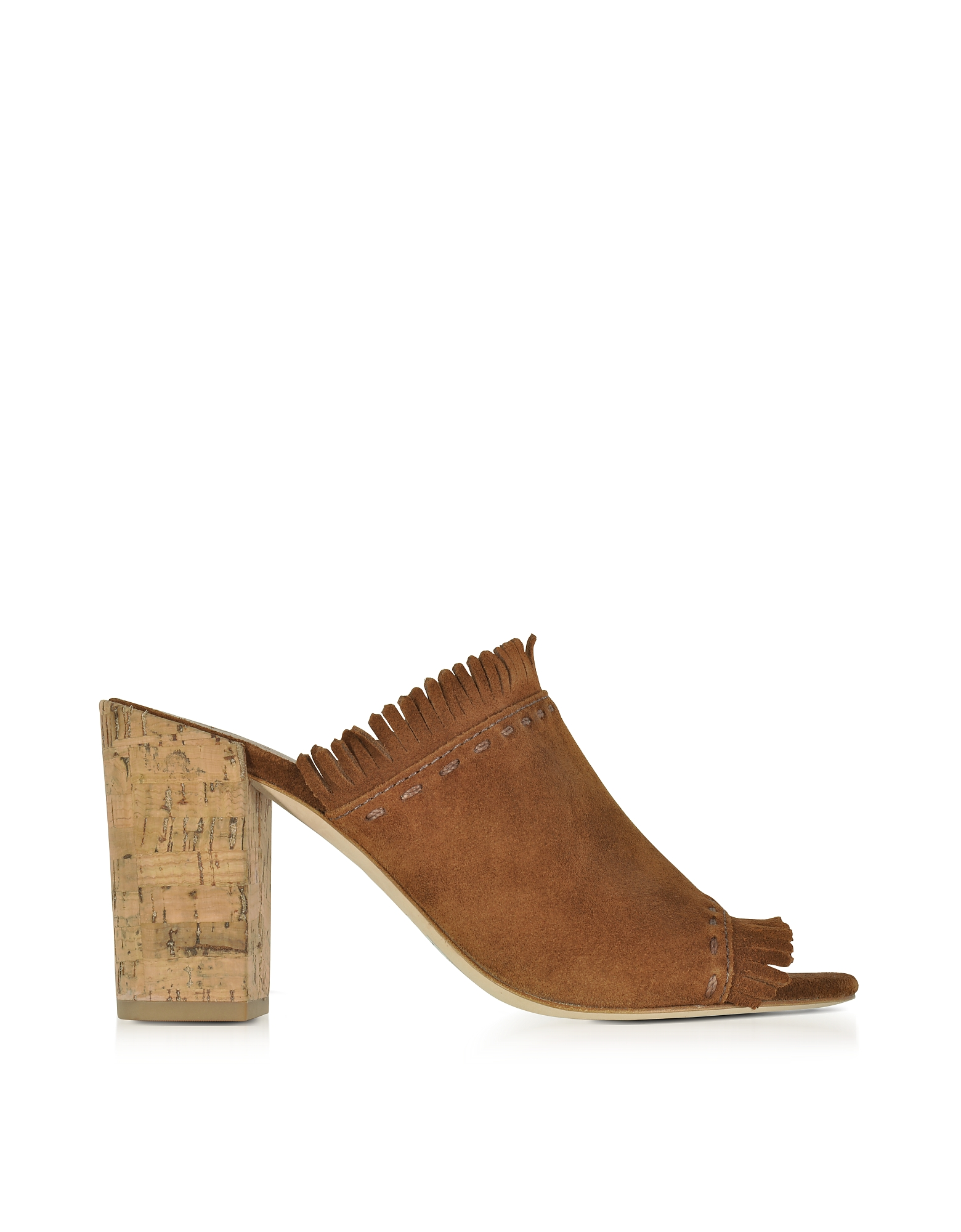 Tory Burch Shoes, Huntington Festival Brown Suede High Heel Mules w/Fringes