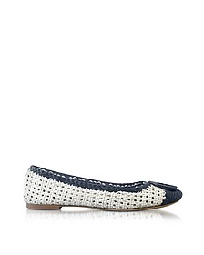 Pasadena Navy Sea and White Woven Leather Ballet Flats - Tory Burch