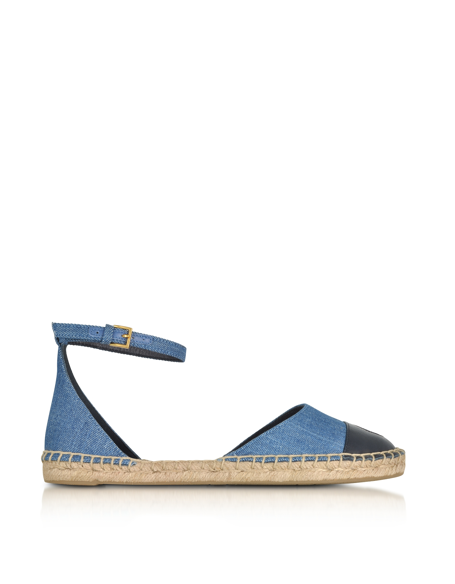 Tory Burch Shoes, Color Block Denim and Leather Ankle Strap Espadrilles