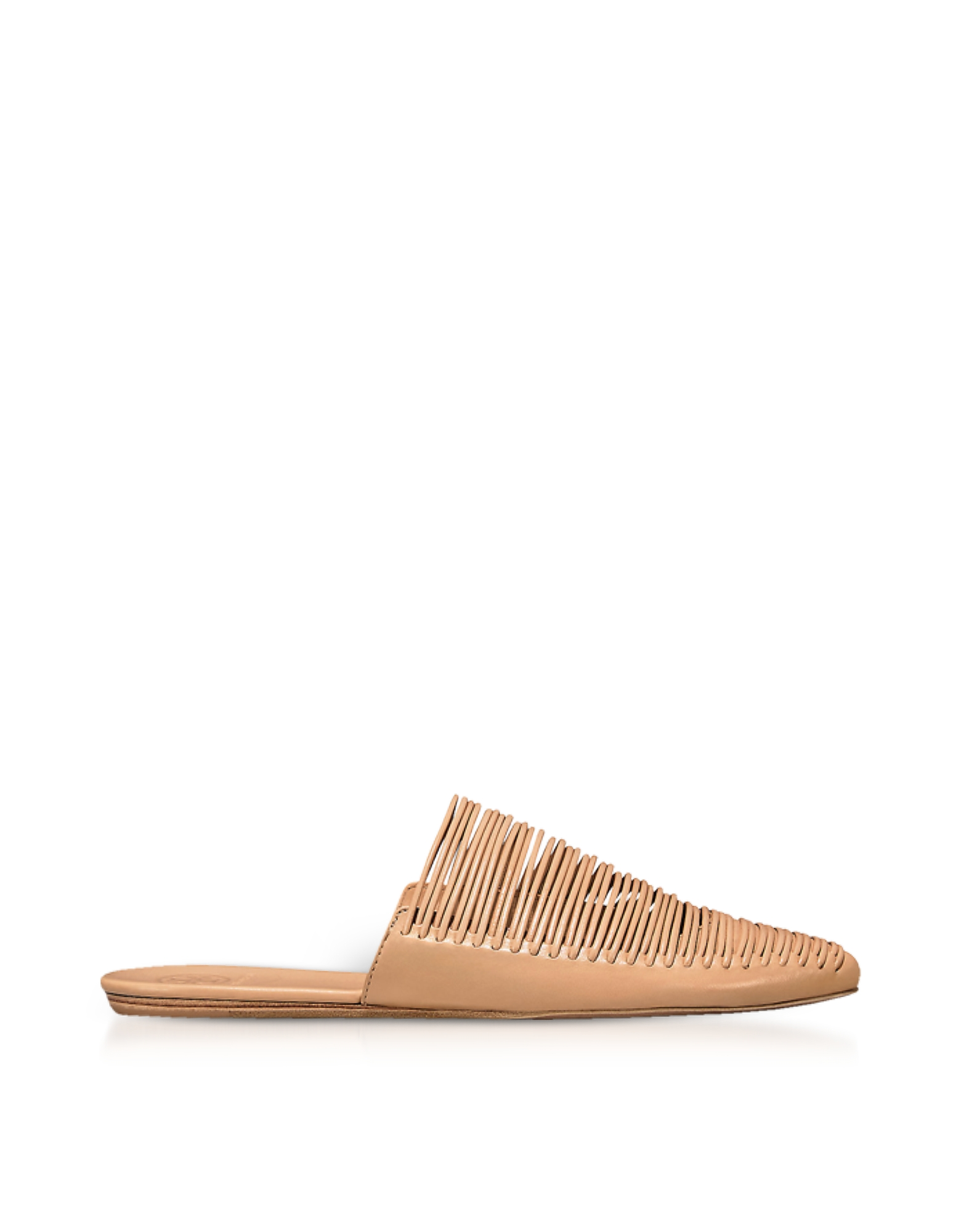 Natual Leather Sienna Flat Slide Mules