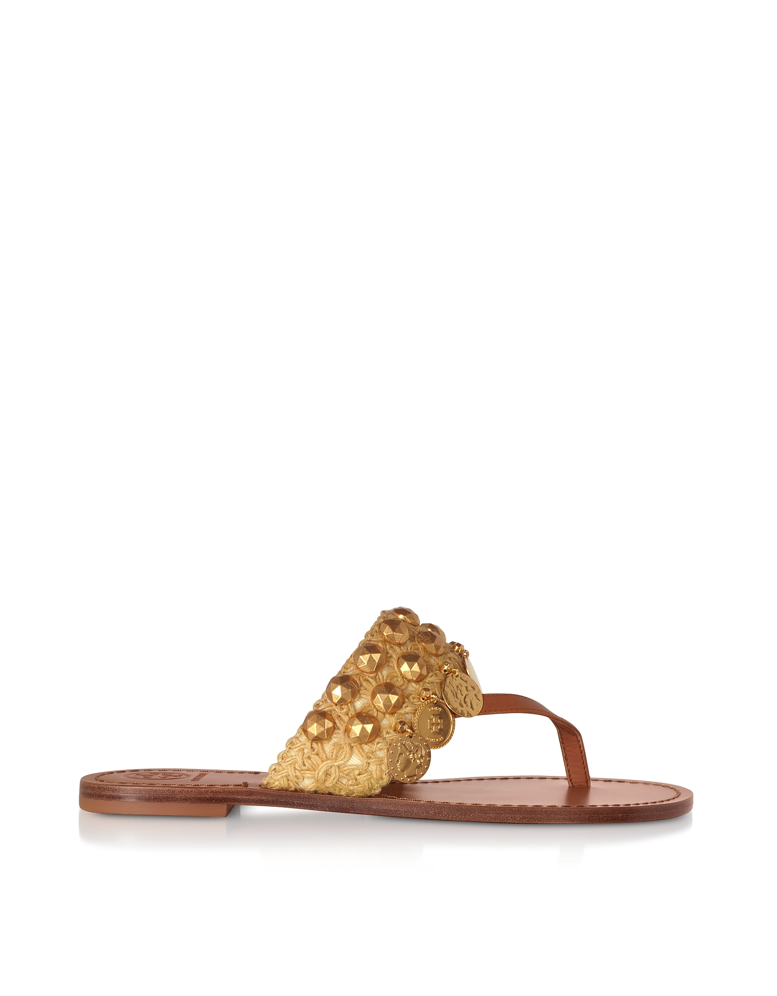 Tan Leather Patos Coin Sandals