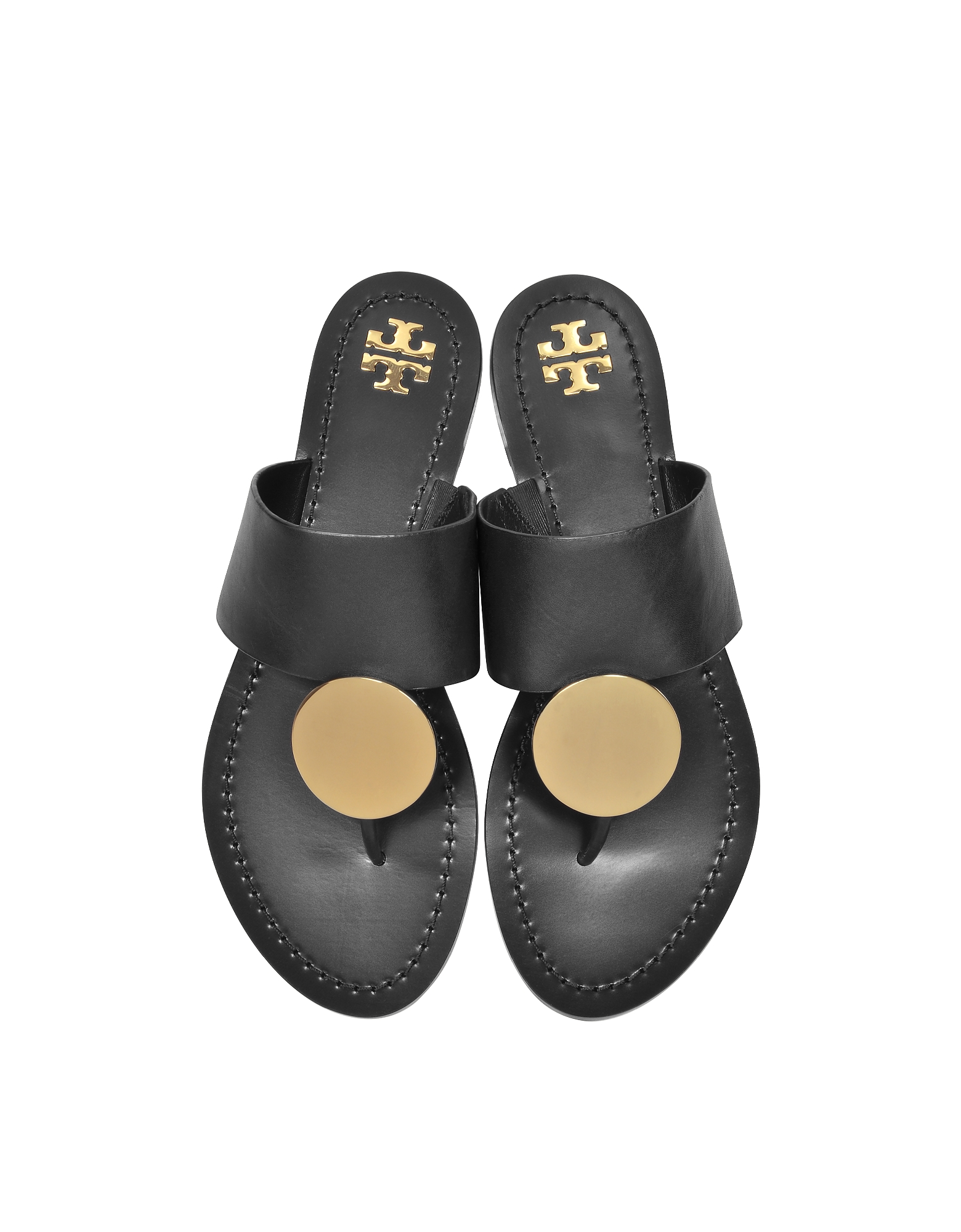 Black Leather Patos Disc Sandals