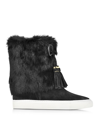 Tory Burch - Anjelica Black Suede and Rabbit Fur Boots