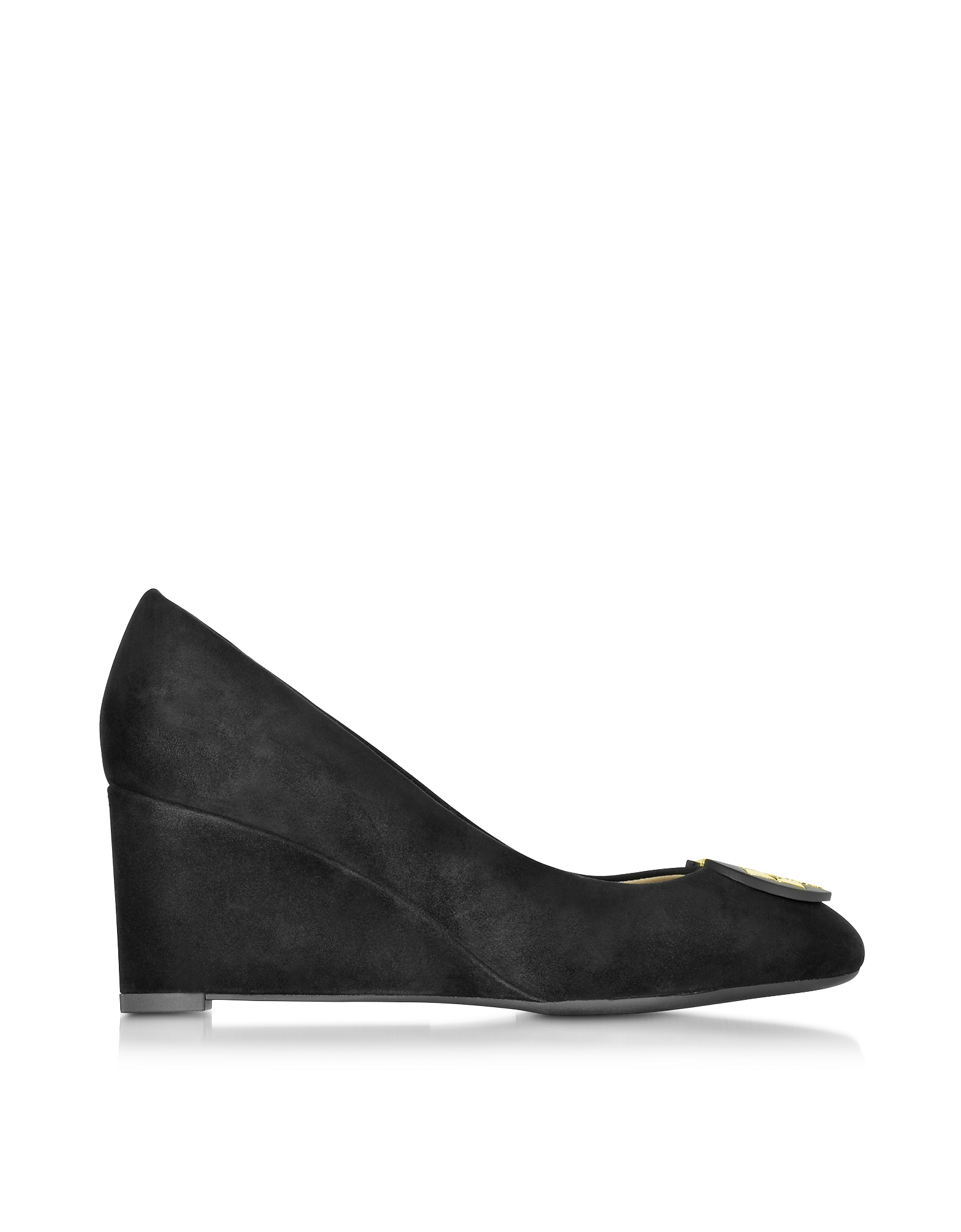Luna - Черные Замшевые Туфли на Танкетке