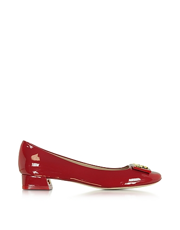 Gigi Red Patent Leather Mid-heel Pump