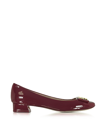 Gigi Burgundy Patent Leather Mid-heel Pump