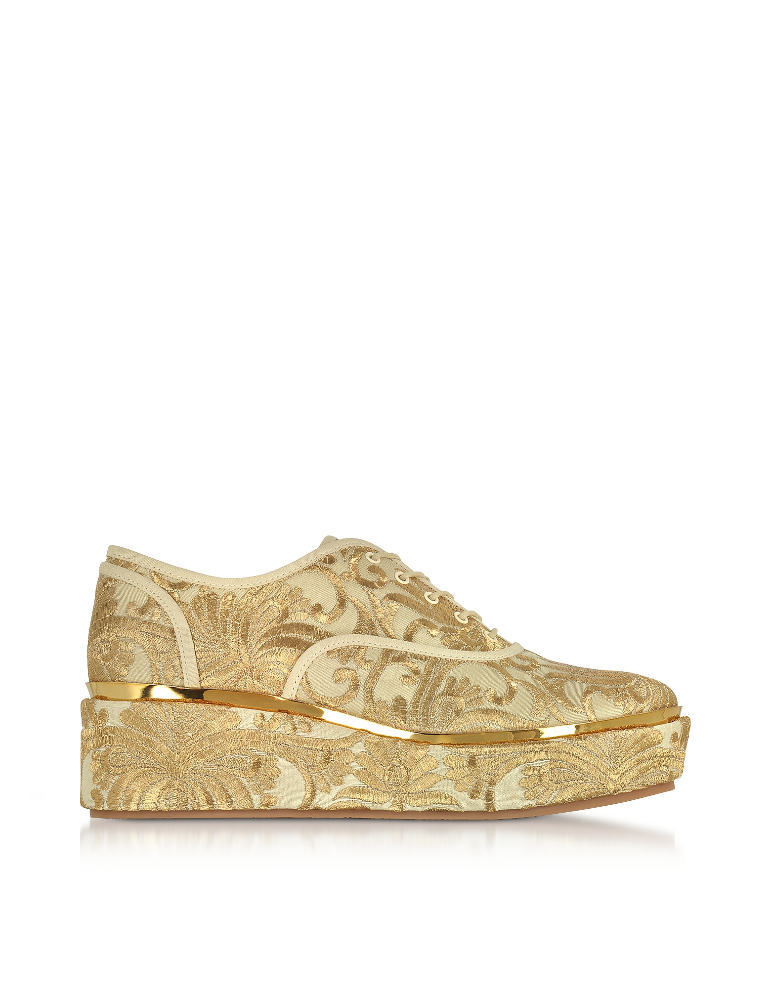 Tory Burch Shoes, Arden Beige and Gold Embroidered Brocade Platform Oxford Shoes