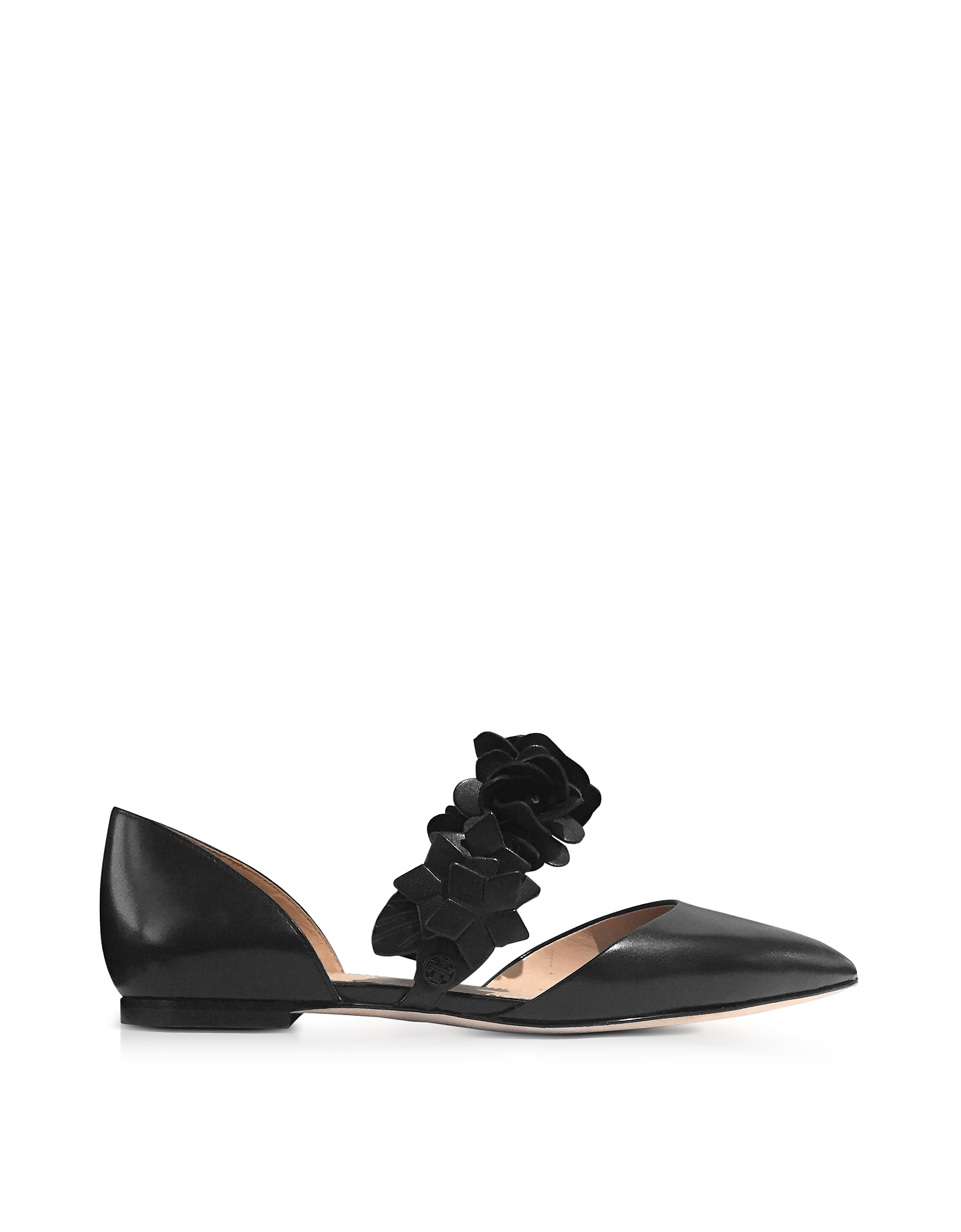 Tory Burch Shoes, Black Leather Blossom d'Orsay Flats