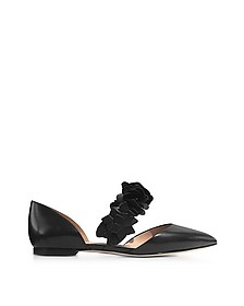 Black Leather Blossom d'Orsay Flats  - Tory Burch