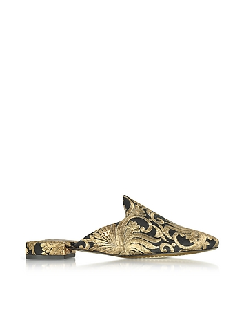 Tory Burch - Carlotta Black and Gold Embroidered Brocade Mules