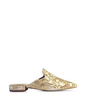 Carlotta Beige and Gold Embroidered Brocade Mules