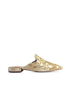 Carlotta Beige and Gold Embroidered Brocade Mules - Tory Burch