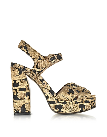 Tory Burch - Loretta Black and Gold Embroidered Brocade Platform Sandals