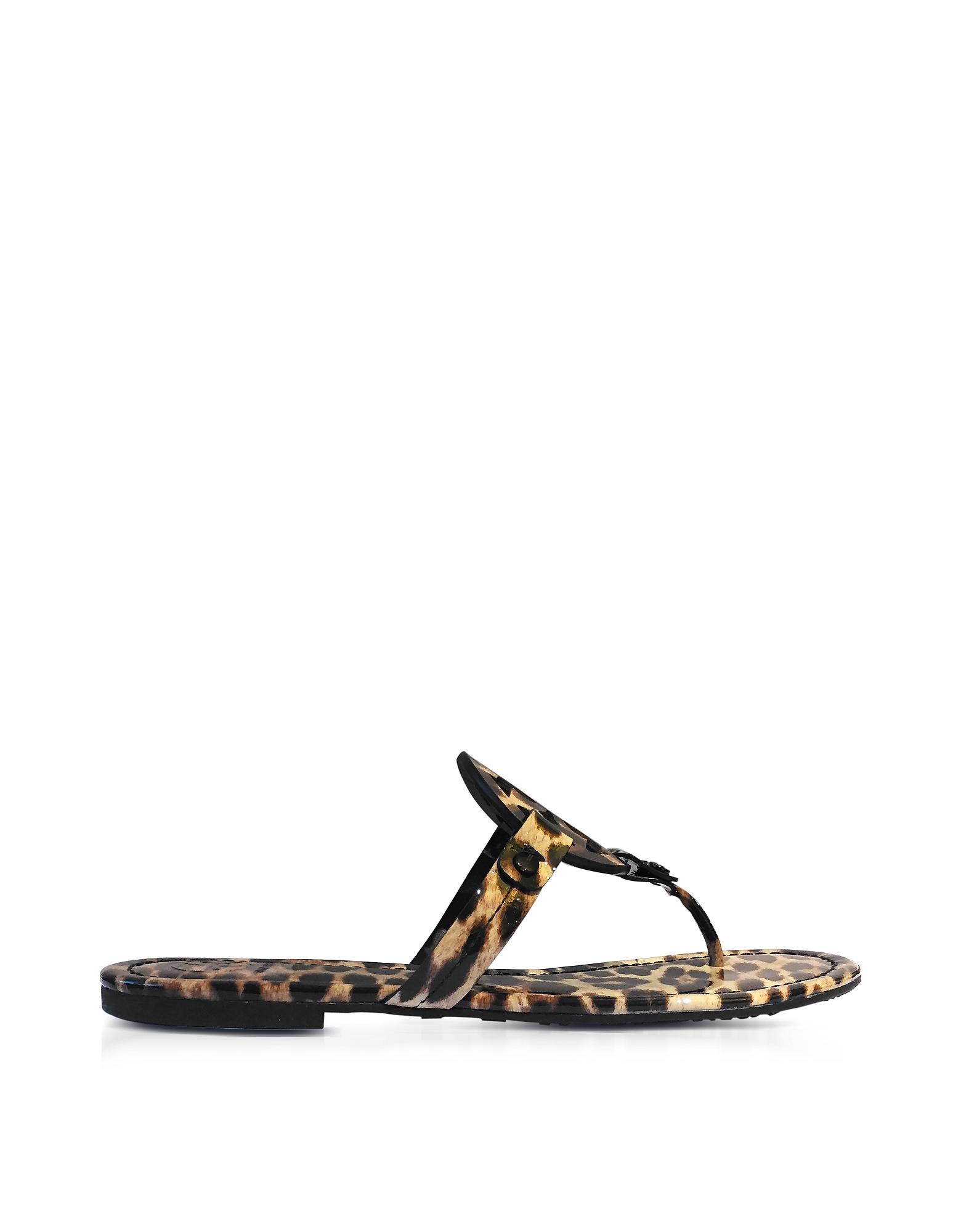 Miller - Сандалии на Плоской Подошве из Кожи с Леопардовым Принтом