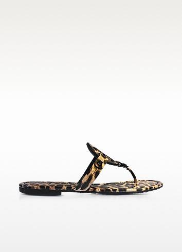 Miller Natural Leopard Print Leather Flat Sandals - Tory Burch