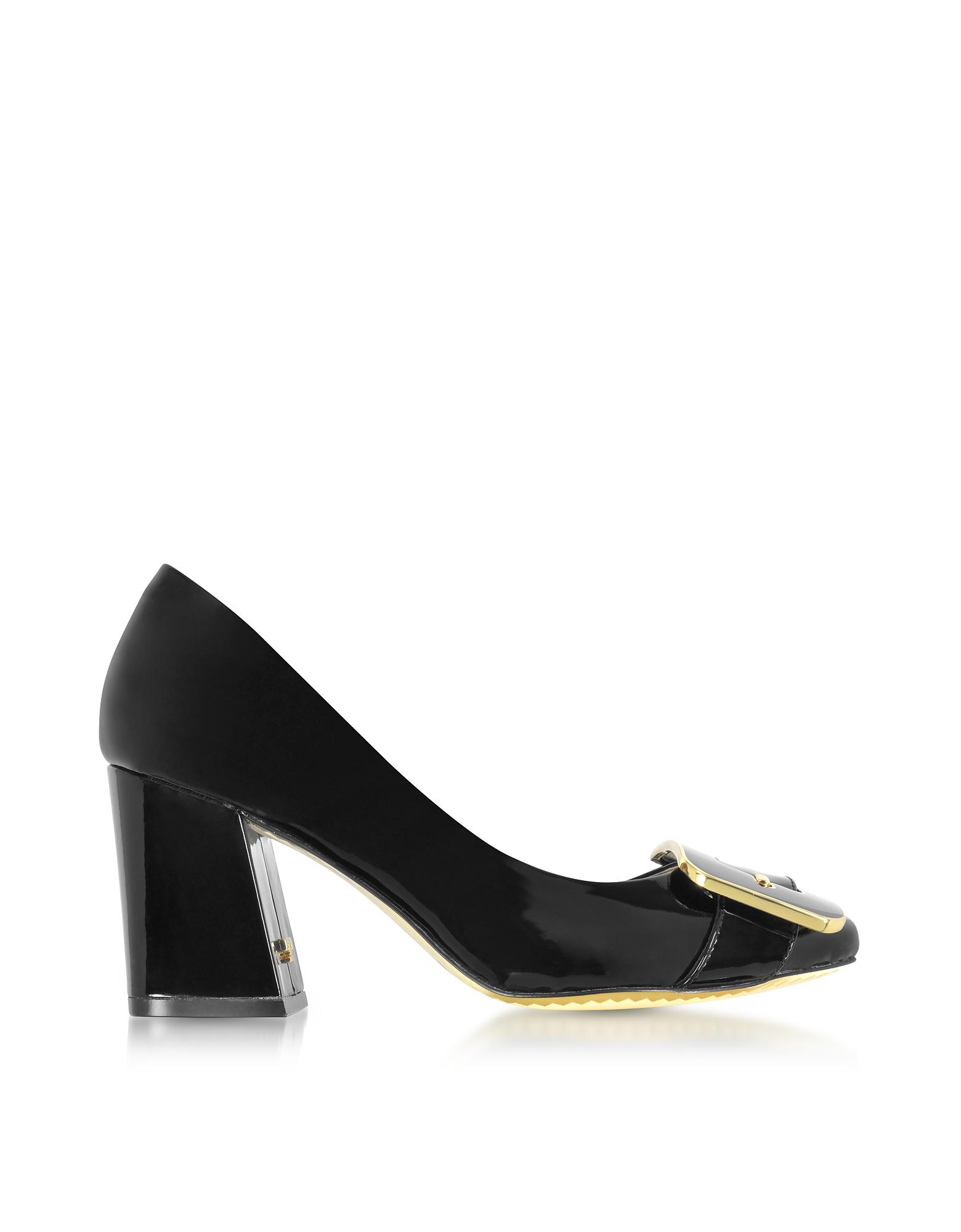 Maria - Черные Туфли-Лодочки из Лакированной Кожи на Высоком Каблуке