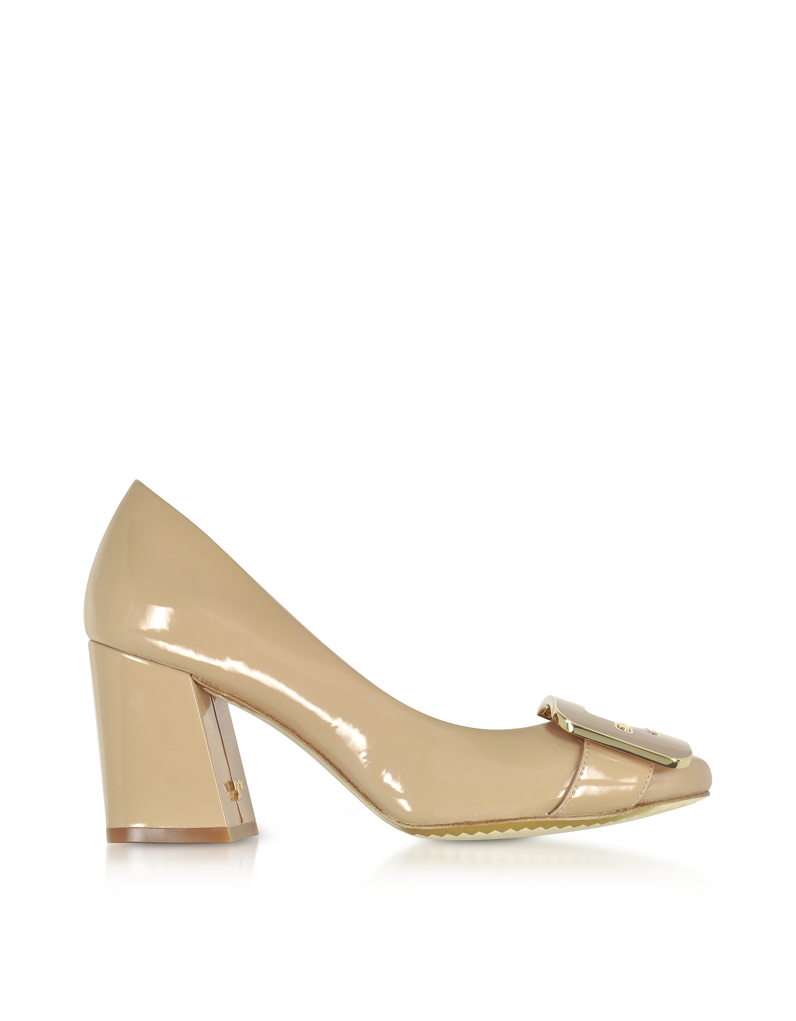Tory Burch Shoes, Maria Tory Beige Patent Leather Heel Pumps