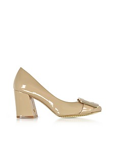 Maria Tory Beige Patent Leather Heel Pumps - Tory Burch