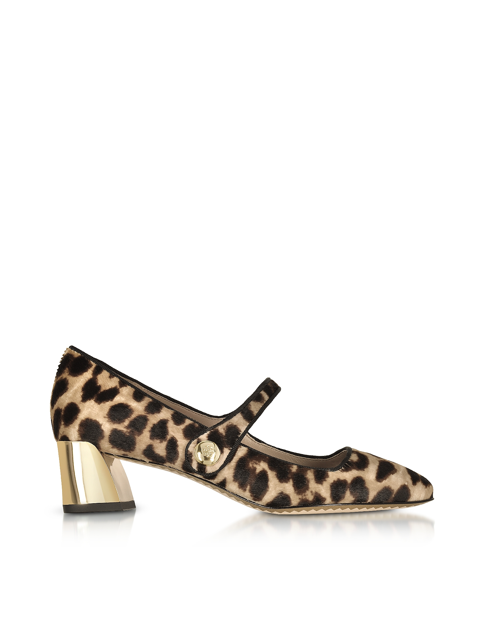 Tory Burch Marisa Natural Leopard Print and Black Leather Mary Jane Pumps