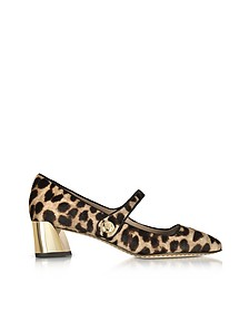 Marisa Natural Leopard Print and Black Leather Mid-heel Pumps - Tory Burch