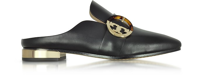 Sidney Black Leather Backless Loafers - Tory Burch
