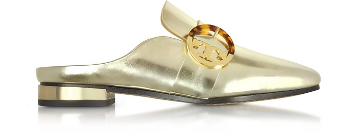 Sidney Spark Gold Metallic Leather Backless Loafers - Tory Burch